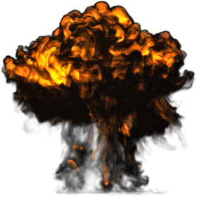 Big Explosion with Dark Smoke PNG