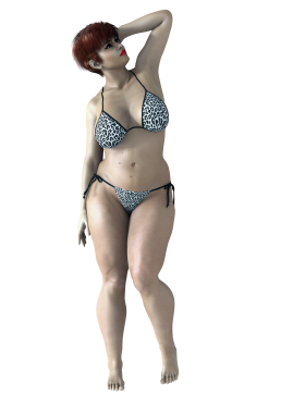 Rendered Fat Woman in Bikini PNG