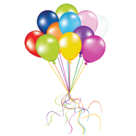 Multicolored Balloons Flying PNG