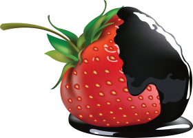 Black Chocolate on Strawberry PNG