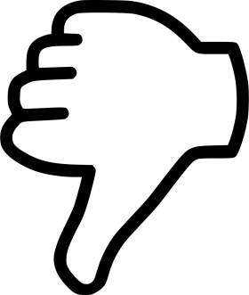 Black Dislike Thumb outline PNG