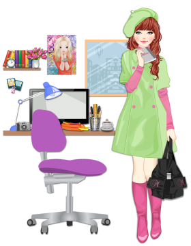 Blonde Girl going college in room with black bag PNG