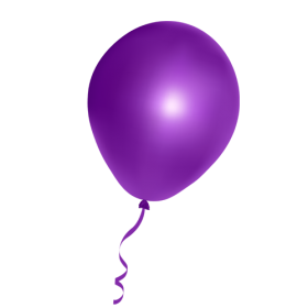 Violet Balloon with Ribbon PNG