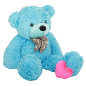 Blue Teddy Bear with pink Heart PNG
