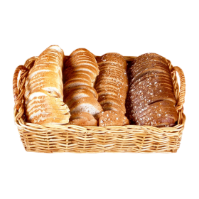 Bread Slices in Wicker Basket PNG