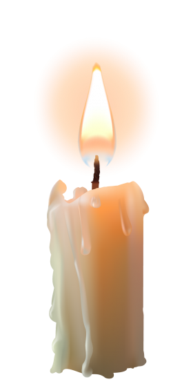 Bright Candle with Flame PNG