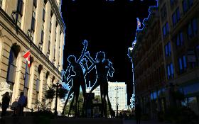 Sculpture in-between Buildings in Canada PNG