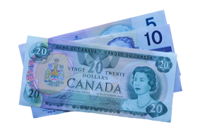 5, 10, and 20 Canadian Dollar Notes PNG