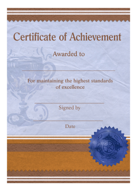 Certificate of Achievement Template PNG