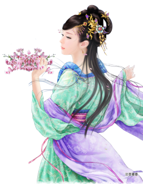 Chinese Lady Holding Flowers PNG