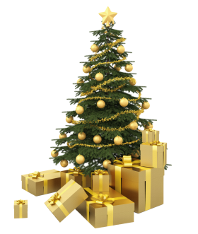 Christmas Tree with Golden Presents PNG
