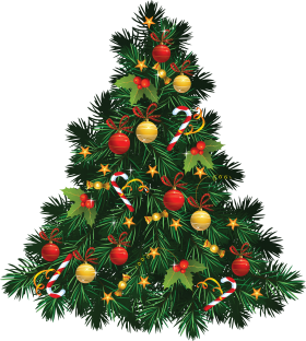 Christmas Tree with Candy Decoration PNG