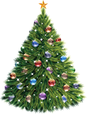Christmas Tree with Baubles PNG