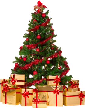 Decorative Christmas Tree with Gifts PNG