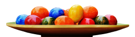 Colorful Eggs in a Plate PNG