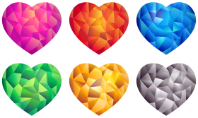 Colorful Hearts PNG