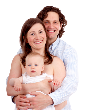 Couple with baby PNG
