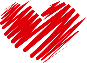 Curved Red Heart Outline PNG