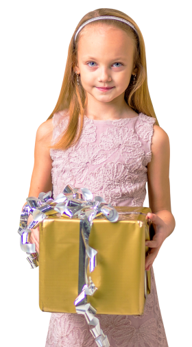 Cute Girl Holding Gift Box PNG