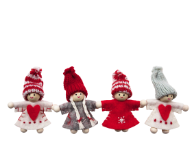 Four Cute Christmas Dolls PNG