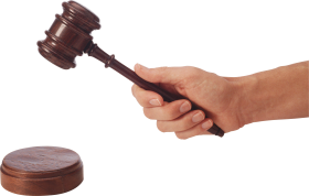 Gavel Judge Hammer in hand PNG