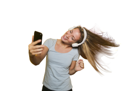 Girl Taking Selfie with listening music PNG