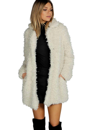 Girl in White  Fur Coat PNG