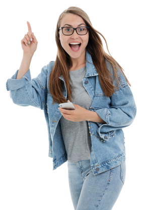 Happy Girl with Smartphone PNG