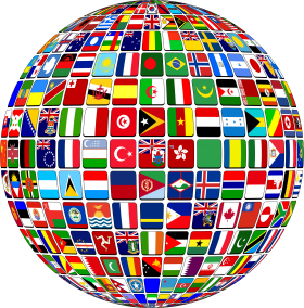 Globe with Country National Flags PNG