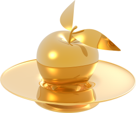 Gold Made Apple and Plate PNG