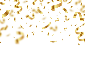 Golden Birthday Confetti with Blur PNG