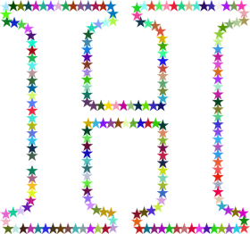 H Letter in Multi Stars PNG