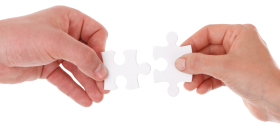 Hand Connect Two Puzzle Pieces PNG