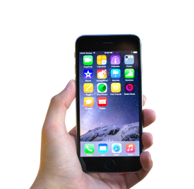 Hand Holding Black Apple iPhone 6 PNG