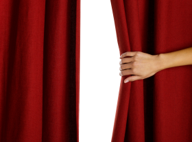 Hand Opening Red Curtain PNG