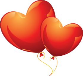 Two Red Heart Balloons PNG