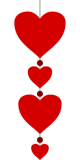 Hearts in a Vertical Line PNG