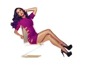 Katy Perry sitting on a chair PNG