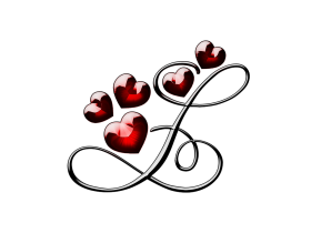 L Letter With Hearts PNG