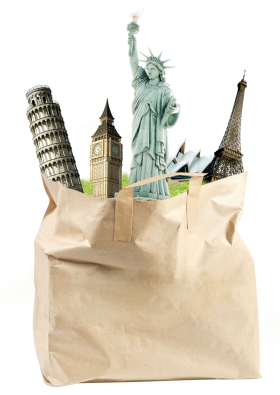 Famous World Sights in a Bag PNG