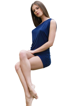 Laying Little Caprice in Blue Dress PNG