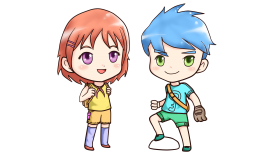 Little Anime Boy and Girl PNG