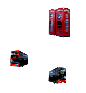 London Telephone Booths and  Buses PNG