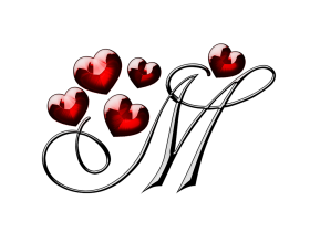 M Letter With Hearts PNG