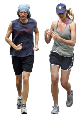 Man and Woman are running PNG