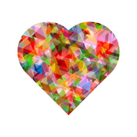 Multi Colors Crystal Heart PNG