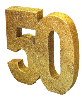 Number 50 with Glitter PNG