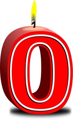 Number Zero red Candle PNG