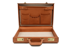 Open Leather Briefcase PNG PNG
