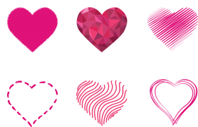 Pink Art Hearts PNG